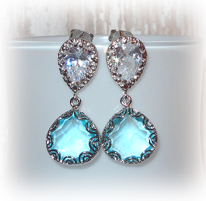 Swiss Blue and Cubic Zirconia Teardrop Earrings