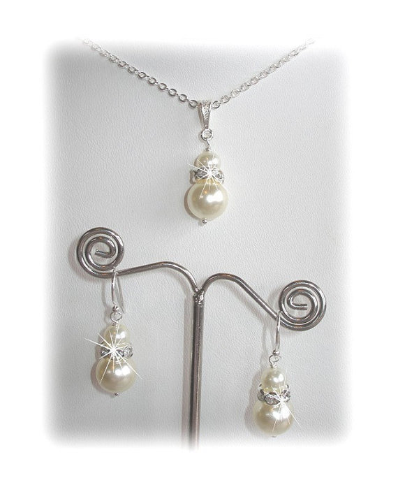 Swarovski Crystal and Pearl Bridal Set, Pearl Bridal Wedding Set, Bridesmaid Jewelry Set, Pearl Bridesmaid Set