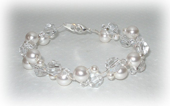 Bubbles Bracelet, Pearl Bridal Bracelet, Crystal and Pearl Beaded Bracelet, Wedding Bracelet